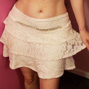 White lace rhinestone ruffle skirt